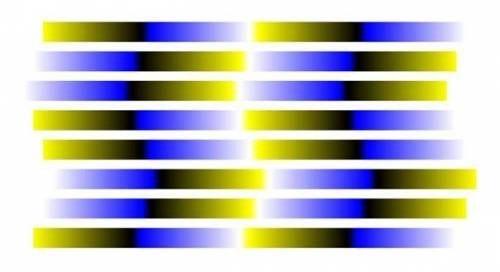 blue yellow optical illusion